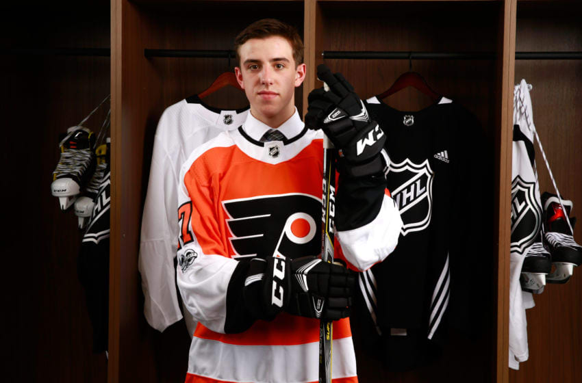 CHICAGO, IL - JUNE 23: Morgan Frost, 27th overall pick of the Philadelphia Flyers, poses for a portrait during Round One of the 2017 NHL Draft at United Center on June 23, 2017 in Chicago, Illinois. (Photo by Jeff Vinnick/NHLI via Getty Images)