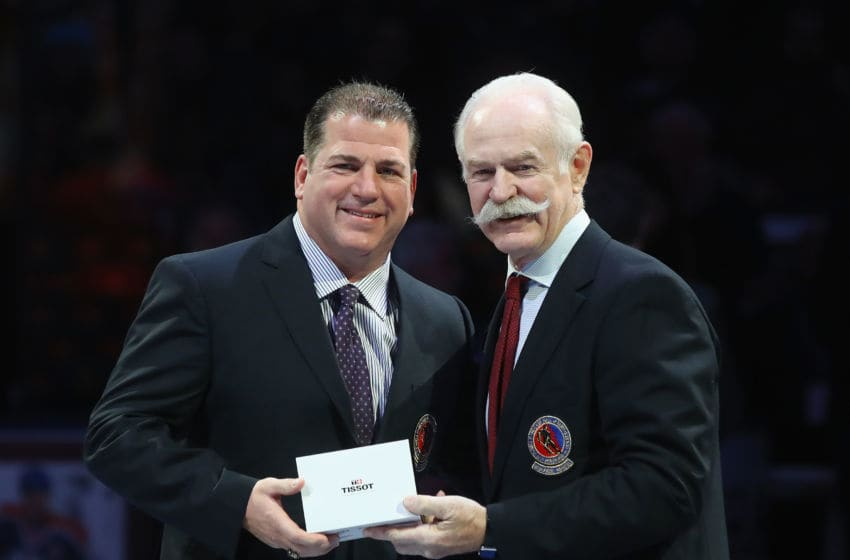 TORONTO, ON - NOVEMBER 12: Mark Recchi is honored for his induction into the Hall of Fame prior to the Legends Classic game at the Air Canada Centre on November 12, 2017 in Toronto, Canada. (Photo by Bruce Bennett/Getty Images)