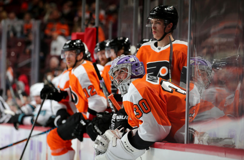 PHILADELPHIA, PENNSYLVANIA - NOVEMBER 28: Michal Neuvirth