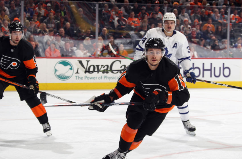 PHILADELPHIA, PENNSYLVANIA - NOVEMBER 02: Travis Konecny #11 of the Philadelphia Flyers skates against the Toronto Maple Leafs at the Wells Fargo Center on November 02, 2019 in Philadelphia, Pennsylvania. The Maple Leafs defeated the Flyers 4-3 in the shoot-out. (Photo by Bruce Bennett/Getty Images)