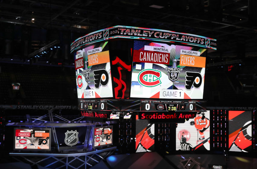 TORONTO, ONTARIO - AUGUST 12: A view of the scoreboard before the game between the Montreal Canadiens and the Philadelphia Flyers in Game One of the Eastern Conference First Round during the 2020 NHL Stanley Cup Playoffs at Scotiabank Arena on August 12, 2020 in Toronto, Ontario. (Photo by Elsa/Getty Images)