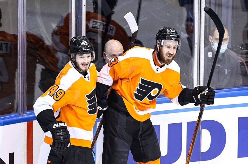 Kevin Hayes and Joel Farabee, Philadelphia Flyers (Photo by Elsa/Getty Images)