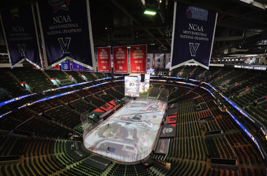 PHILADELPHIA, PENNSYLVANIA - MAY 10: A general view of the arena prior to the game between the Philadelphia Flyers and the New Jersey Devils at the Wells Fargo Center on May 10, 2021 in Philadelphia, Pennsylvania. (Photo by Bruce Bennett/Getty Images)