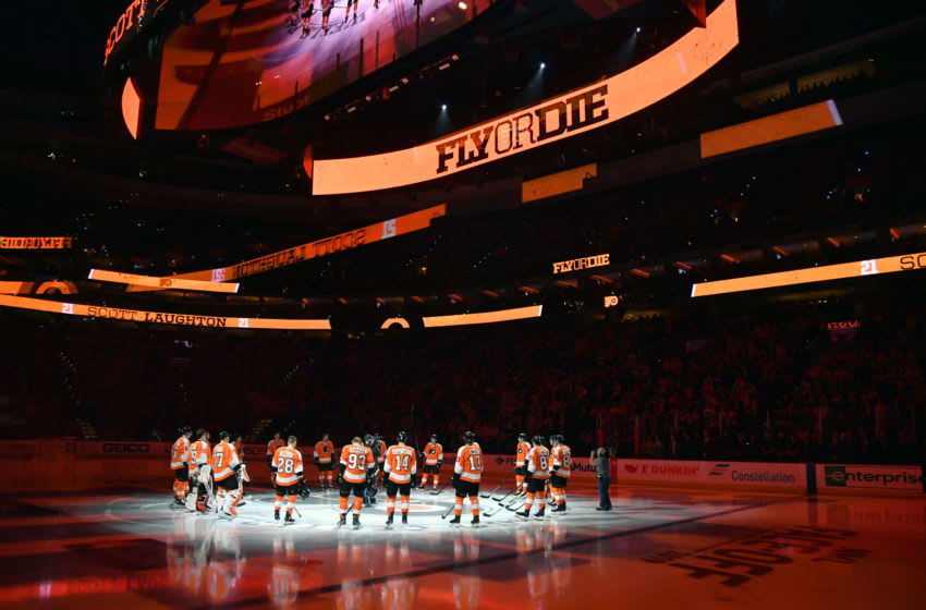 Oct 9, 2019; Philadelphia, PA, USA; Philadelphia Flyers on ice during player introductions against the New Jersey Devils at Wells Fargo Center. Mandatory Credit: Eric Hartline-USA TODAY Sports