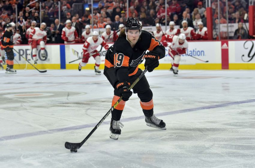 Feb 16, 2019; Philadelphia, PA, USA; Philadelphia Flyers center Nolan Patrick (19) skates with the puck during the 2nd period of the game against the Detroit Red Wings at the Wells Fargo Center. Mandatory Credit: John Geliebter-USA TODAY Sports