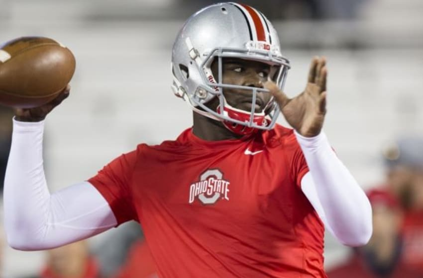 Nov 7, 2015; Columbus, OH, USA; Ohio State Buckeyes quarterback Cardale Jones (12) warms up before the game against the Minnesota Golden Gophers at Ohio Stadium. Mandatory Credit: Greg Bartram-USA TODAY Sports