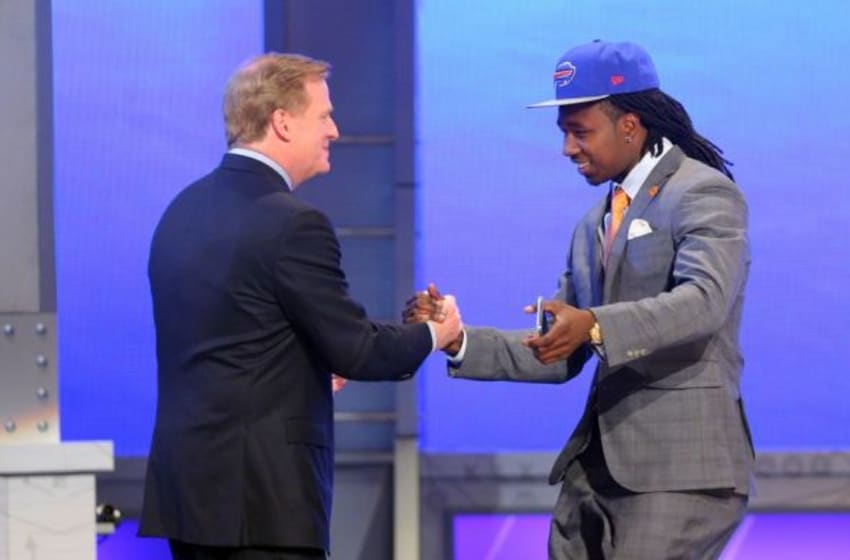 May 8, 2014; New York, NY, USA; Sammy Watkins (Clemson) shakes hands with Roger Goodell after being selected as the number four overall pick in the first round of the 2014 NFL Draft to the Buffalo Bills at Radio City Music Hall. Mandatory Credit: Brad Penner-USA TODAY Sports