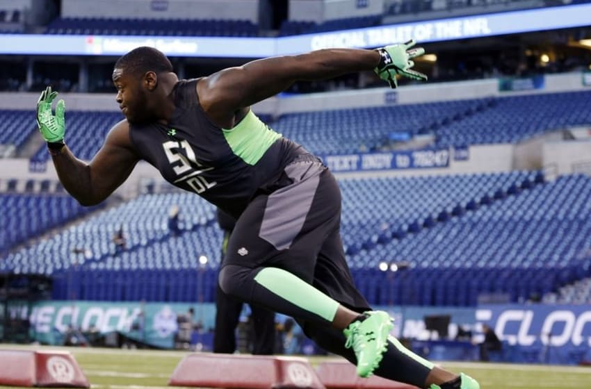 Feb 28, 2016; Indianapolis, IN, USA; Alabama Crimson Tide defensive lineman Jarran Reed participates in workout drills during the 2016 NFL Scouting Combine at Lucas Oil Stadium. Mandatory Credit: Brian Spurlock-USA TODAY Sports