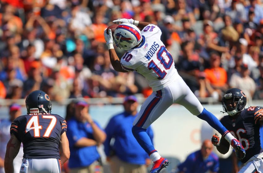 Sep 7, 2014; Chicago, IL, USA; Buffalo Bills wide receiver Robert Woods (10) makes a catch with Chicago Bears free safety Chris Conte (47) defending during the second half at Soldier Field. Buffalo won 23-20 in overtime. Mandatory Credit: Dennis Wierzbicki-USA TODAY Sports