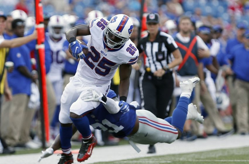 Aug 20, 2016; Orchard Park, NY, USA; New York Giants free safety Landon Collins (21) dives to try and tackle Buffalo Bills running back LeSean McCoy (25) as he runs the ball during the first half at New Era Field. Mandatory Credit: Timothy T. Ludwig-USA TODAY Sports