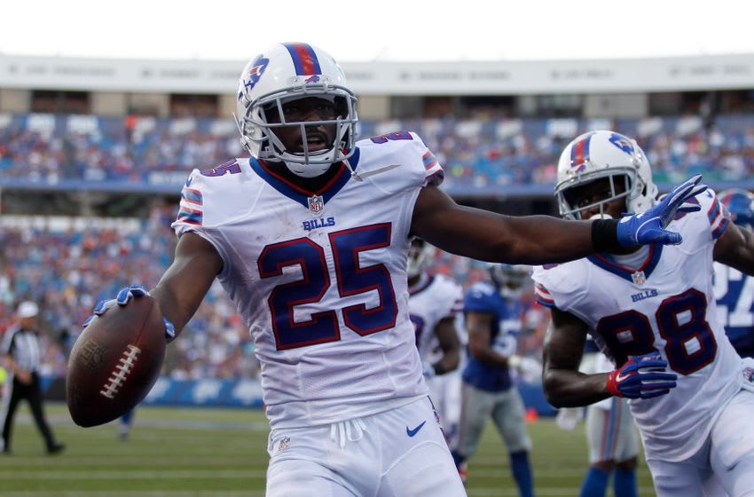 Aug 20, 2016; Orchard Park, NY, USA; Buffalo Bills running back LeSean McCoy (25) celebrates a touchdown during the first half against the Buffalo Bills at New Era Field. Mandatory Credit: Timothy T. Ludwig-USA TODAY Sports