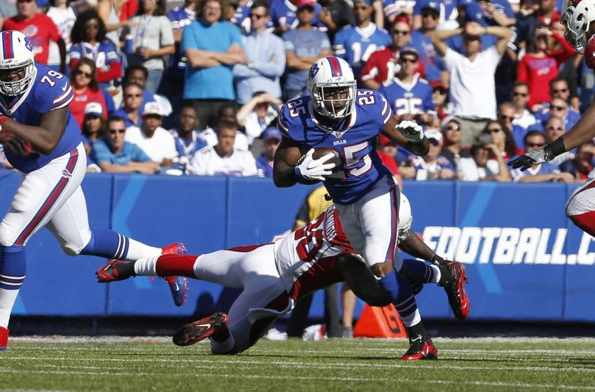 Sep 25, 2016; Orchard Park, NY, USA; Arizona Cardinals outside linebacker Deone Bucannon (20) dives to try and make a tackle on Buffalo Bills running back LeSean McCoy (25) during the second half at New Era Field. Bills beat the Cardinals 33-18. Mandatory Credit: Timothy T. Ludwig-USA TODAY Sports