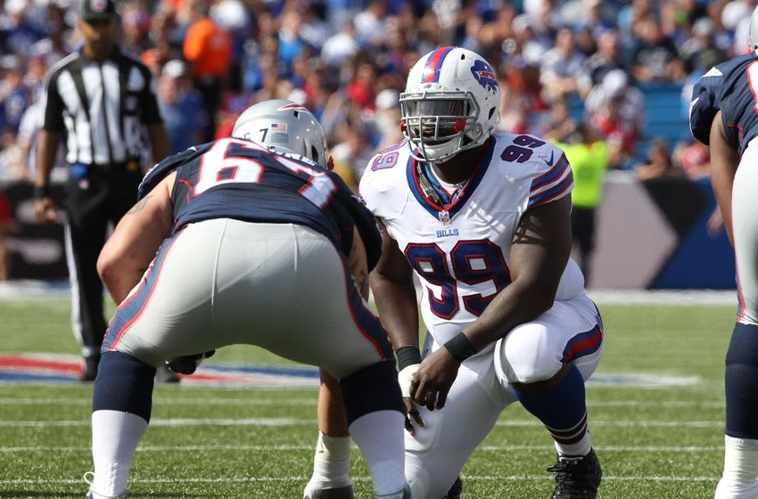 Sep 20, 2015; Orchard Park, NY, USA; Buffalo Bills defensive tackle Marcell Dareus (99) lines up on New England Patriots guard Josh Kline (67) during the second half at Ralph Wilson Stadium. Patriots defeat the Bills 40 to 32. Mandatory Credit: Timothy T. Ludwig-USA TODAY Sports
