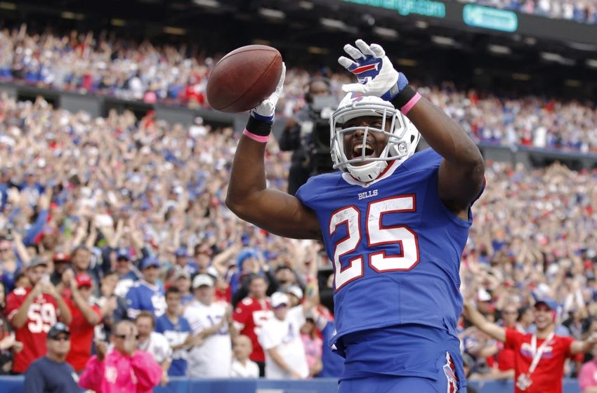 Oct 16, 2016; Orchard Park, NY, USA; Buffalo Bills running back LeSean McCoy (25) celebrates after scoring a touchdown during the second half against the San Francisco 49ers at New Era Field. Buffalo beat San Francisco 45-16. Mandatory Credit: Kevin Hoffman-USA TODAY Sports