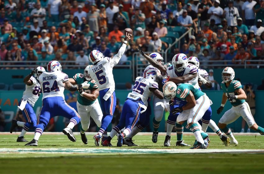 Oct 23, 2016; Miami Gardens, FL, USA; Buffalo Bills quarterback Tyrod Taylor (5) throws a pass during the first half against the Miami Dolphins at Hard Rock Stadium. Mandatory Credit: Steve Mitchell-USA TODAY Sports