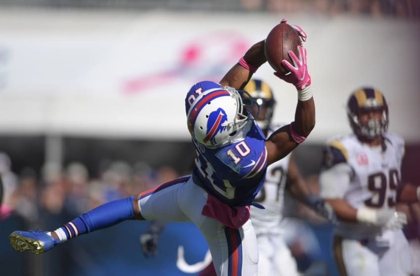 Oct 9, 2016; Los Angeles, CA, USA; Buffalo Bills wide receiver Robert Woods (10) catches a pass against the Los Angeles Rams in the second quarter during a NFL game at Los Angeles Memorial Coliseum. Mandatory Credit: Kirby Lee-USA TODAY Sports
