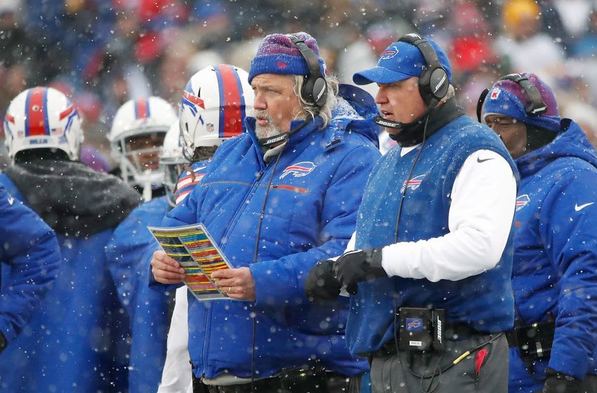 Dec 11, 2016; Orchard Park, NY, USA; Buffalo Bills head coach Rex Ryan (right) and his brother assistant head coach/defense Rob Ryan look on from the sideline during the second half against the Pittsburgh Steelers at New Era Field. The Steelers beat the Bills 27-20. Mandatory Credit: Kevin Hoffman-USA TODAY Sports