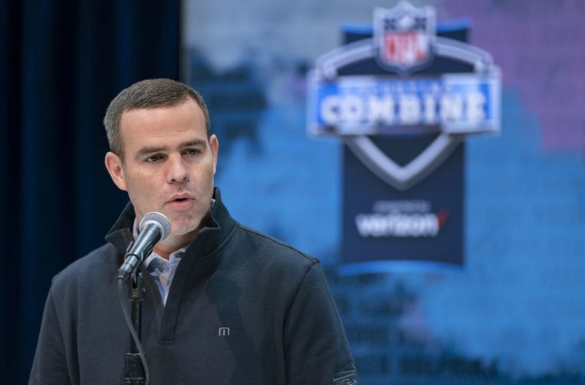 INDIANAPOLIS, IN - FEBRUARY 27: Brandon Beane general manager of the Buffalo Bills is seen at the 2019 NFL Combine at Lucas Oil Stadium on February 28, 2019 in Indianapolis, Indiana. (Photo by Michael Hickey/Getty Images)