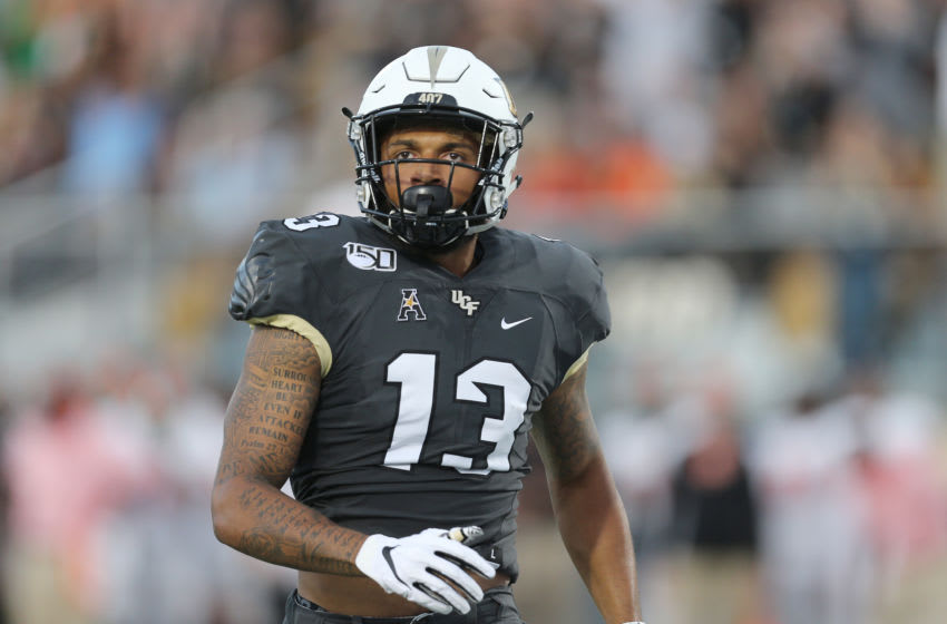 ORLANDO, FL - AUGUST 29: Gabriel Davis #13 of the UCF Knights is seen during a NCAA football game between the Florida A&M Rattlers and the UCF Knights on August 29 2019 in Orlando, Florida. (Photo by Alex Menendez/Getty Images)