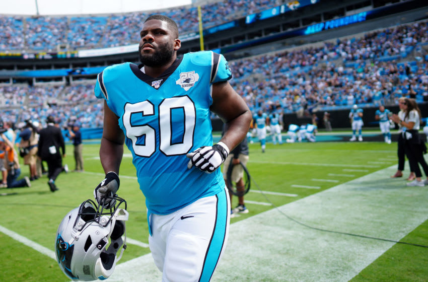 CHARLOTTE, NORTH CAROLINA - OCTOBER 06: Daryl Williams #60 of the Carolina Panthers before their game against the Jacksonville Jaguars at Bank of America Stadium on October 06, 2019 in Charlotte, North Carolina. (Photo by Jacob Kupferman/Getty Images)