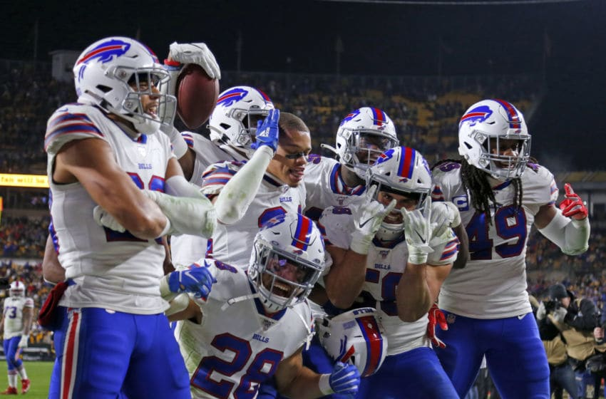 PITTSBURGH, PA - DECEMBER 15: Levi Wallace #39 of the Buffalo Bills celebrates with his defensive teammates after catching an interception in the fourth quarter against the Pittsburgh Steelers on December 15, 2019 at Heinz Field in Pittsburgh, Pennsylvania. (Photo by Justin K. Aller/Getty Images)
