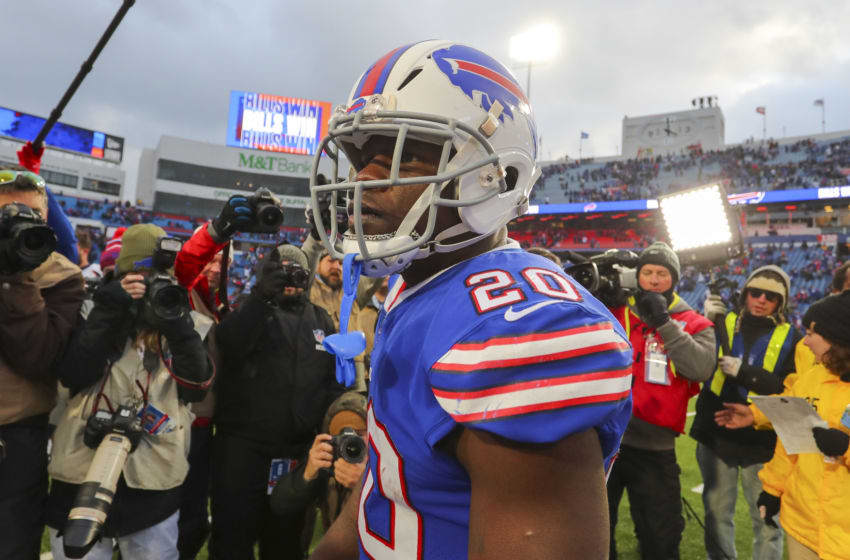 ORCHARD PARK, NY - NOVEMBER 24: Frank Gore #20 of the Buffalo Bills after a game against the Denver Broncos at New Era Field on November 24, 2019 in Orchard Park, New York. Buffalo beats Denver 20 to 3. (Photo by Timothy T Ludwig/Getty Images)