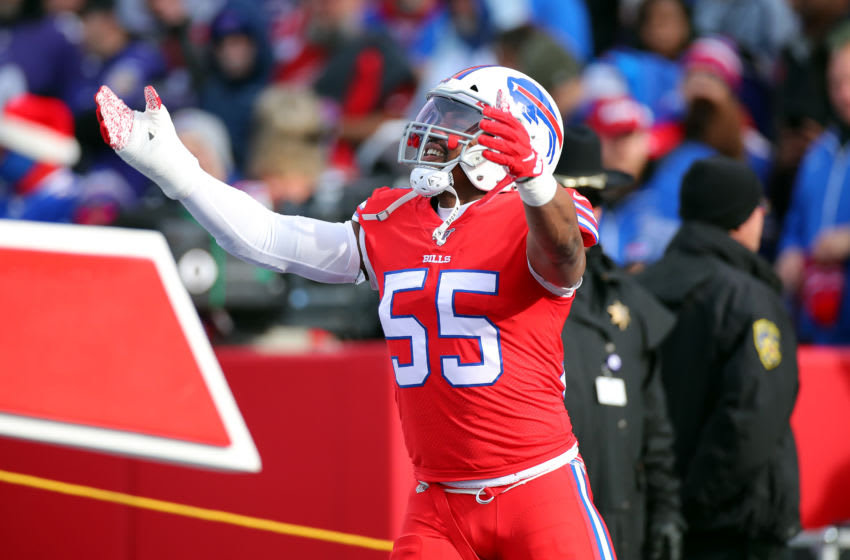 ORCHARD PARK, NEW YORK - DECEMBER 08: Jerry Hughes #55 of the Buffalo Bills reacts before the game against the Baltimore Ravens at New Era Field on December 08, 2019 in Orchard Park, New York. (Photo by Brett Carlsen/Getty Images)