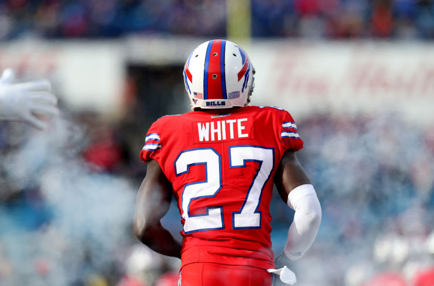 ORCHARD PARK, NEW YORK - DECEMBER 08: Tre'Davious White #27 of the Buffalo Bills is introduced before an NFL game against the Baltimore Ravens at New Era Field on December 08, 2019 in Orchard Park, New York. (Photo by Bryan M. Bennett/Getty Images)