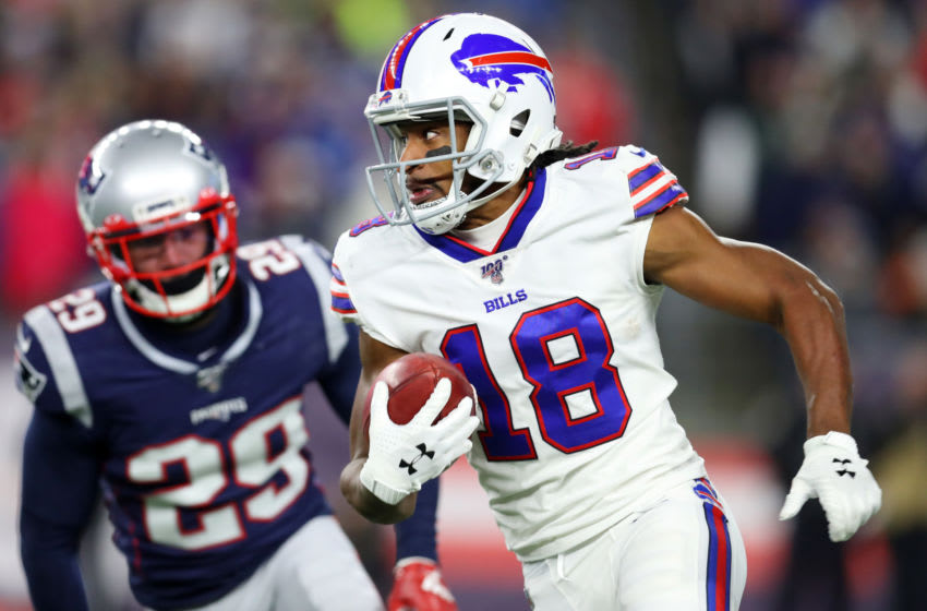 FOXBOROUGH, MASSACHUSETTS - DECEMBER 21: Andre Roberts #18 of the Buffalo Bills runs the ball against the New England Patriots at Gillette Stadium on December 21, 2019 in Foxborough, Massachusetts. (Photo by Maddie Meyer/Getty Images)
