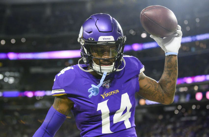 MINNEAPOLIS, MN - DECEMBER 23: Stefon Diggs #14 of the Minnesota Vikings warms up before the game against the Green Bay Packers at U.S. Bank Stadium on December 23, 2019 in Minneapolis, Minnesota. (Photo by Stephen Maturen/Getty Images)