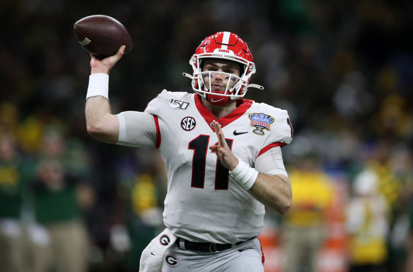 NEW ORLEANS, LOUISIANA - JANUARY 01: Jake Fromm #11 of the Georgia Bulldogs throws a pass against the Baylor Bears during the Allstate Sugar Bowl at Mercedes Benz Superdome on January 01, 2020 in New Orleans, Louisiana. (Photo by Chris Graythen/Getty Images)