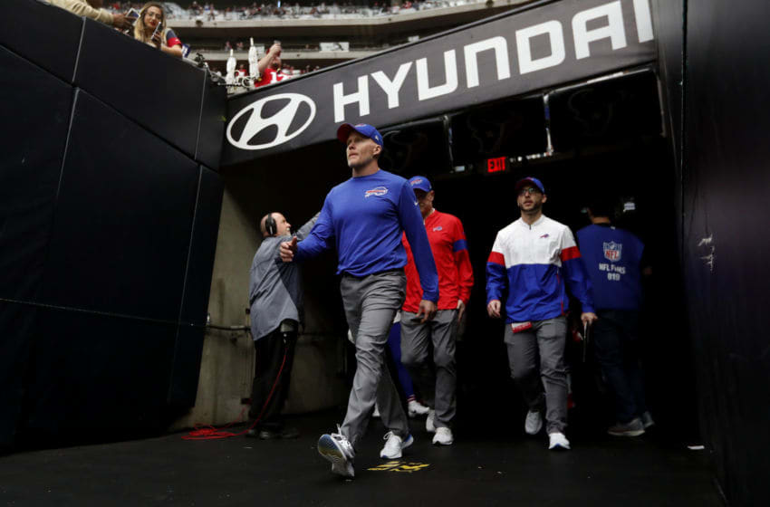 HOUSTON, TEXAS - JANUARY 04: Head coach Sean McDermott of the Buffalo Bills walks out of the tunnel before the AFC Wild Card Playoff game against the Houston Texans at NRG Stadium on January 04, 2020 in Houston, Texas. (Photo by Tim Warner/Getty Images)