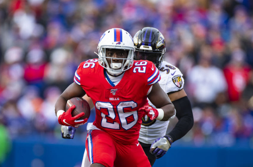 ORCHARD PARK, NY - DECEMBER 08: Devin Singletary #26 of the Buffalo Bills runs with the ball against the Baltimore Ravens during the second quarter at New Era Field on December 8, 2019 in Orchard Park, New York. Baltimore defeats Buffalo 24-17. (Photo by Brett Carlsen/Getty Images)