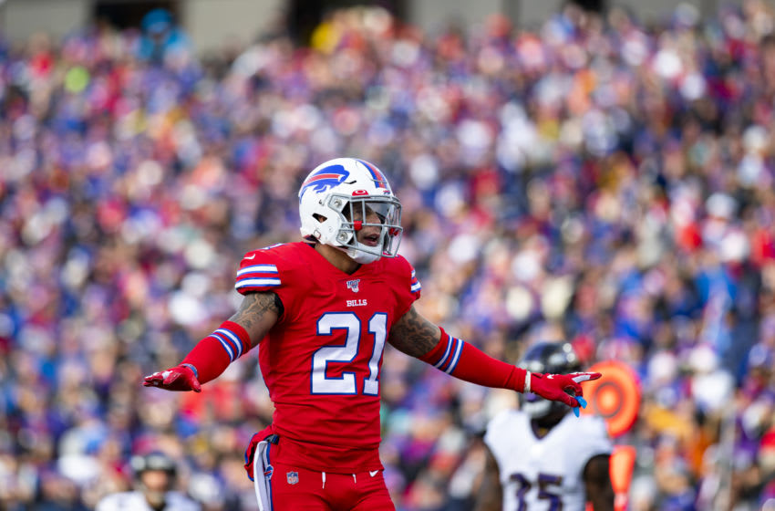 ORCHARD PARK, NY - DECEMBER 08: Jordan Poyer #21 of the Buffalo Bills celebrates a defensive play against the Baltimore Ravens during the second quarter at New Era Field on December 8, 2019 in Orchard Park, New York. Baltimore defeats Buffalo 24-17. (Photo by Brett Carlsen/Getty Images)