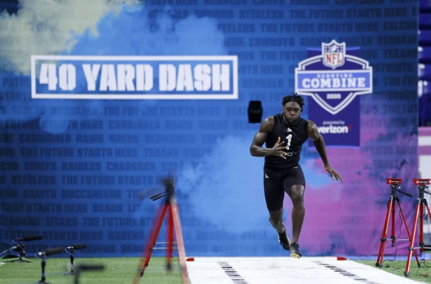 INDIANAPOLIS, IN - FEBRUARY 27: Wide receiver Brandon Aiyuk of Arizona State runs the 40-yard dash during the NFL Scouting Combine at Lucas Oil Stadium on February 27, 2020 in Indianapolis, Indiana. (Photo by Joe Robbins/Getty Images)