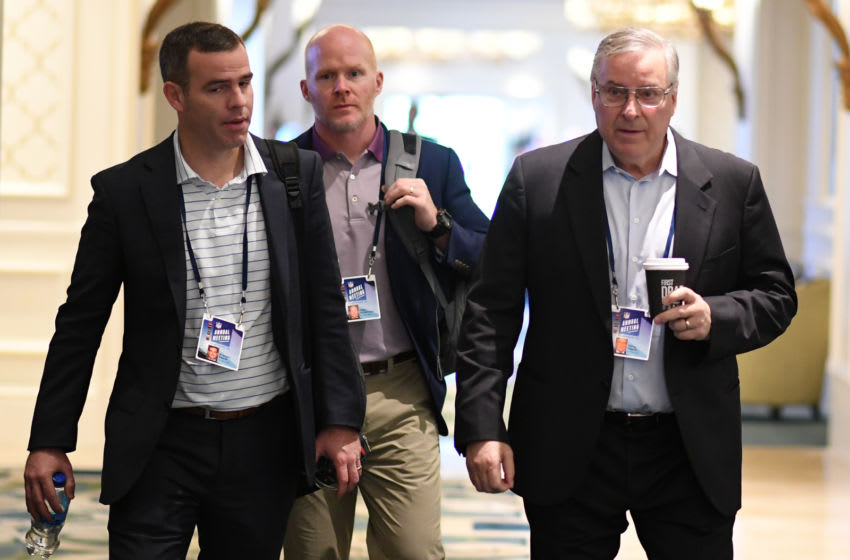 ORLANDO, FL - MARCH 28: (L-R) Buffalo Bills General Manager Brandon Beane, head coach Sean McDermott, and owner Terry Pegula leave the final meetings at the 2018 NFL Annual Meetings at The Ritz-Carlton Orlando, Great Lakes on March 28, 2018 in Orlando, Florida. (Photo by B51/Mark Brown/Getty Images)