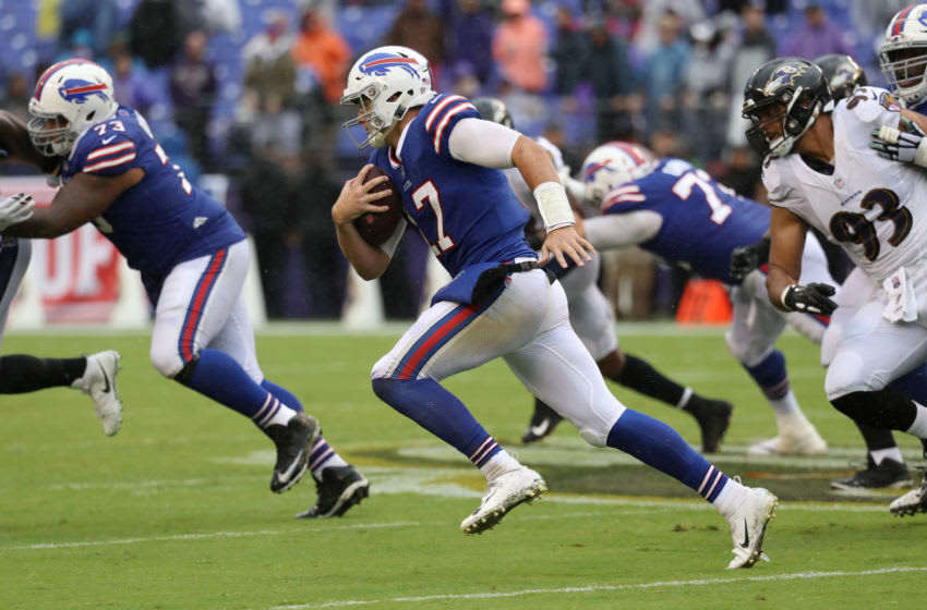 BALTIMORE, MD - SEPTEMBER 9: Josh Allen #17 of the Buffalo Bills runs with the ball in the third quarter against the Baltimore Ravens at M&T Bank Stadium on September 9, 2018 in Baltimore, Maryland. (Photo by Rob Carr/Getty Images)