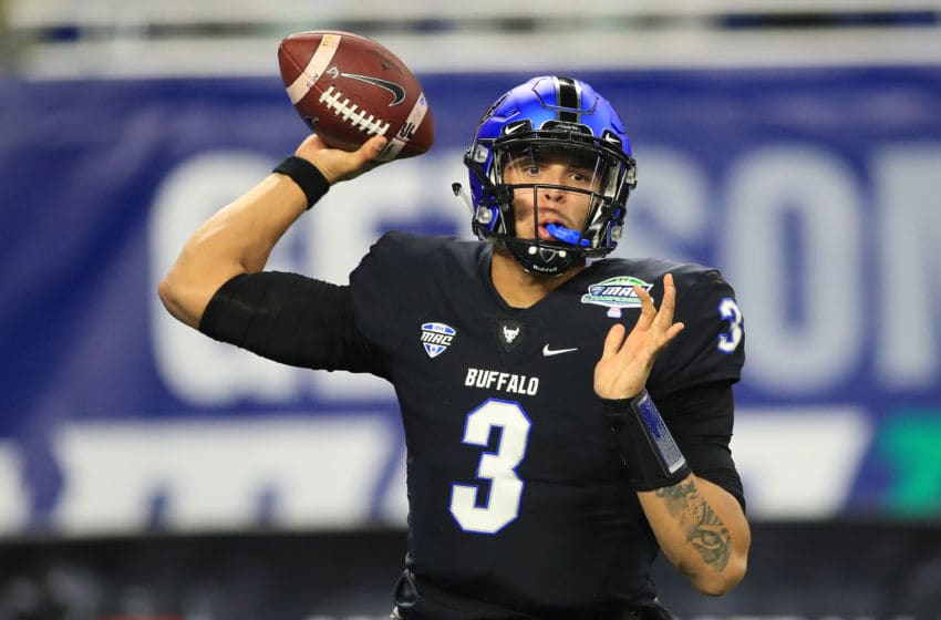 DETROIT, MICHIGAN - NOVEMBER 30: Tyree Jackson #3 of the Buffalo Bulls throws a first half pass while playing the Northern Illinois Huskies during the MAC Championship at Ford Field on November 30, 2018 in Detroit, Michigan. (Photo by Gregory Shamus/Getty Images)