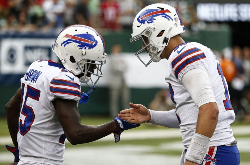 EAST RUTHERFORD, NJ - SEPTEMBER 8: John Brown #15 of the Buffalo Bills celebrates a touchdown with Josh Allen #17 against the New York Jets at MetLife Stadium on September 8, 2019 in East Rutherford, New Jersey. (Photo by Jeff Zelevansky/Getty Images)