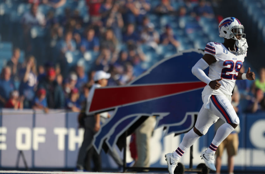 ORCHARD PARK, NEW YORK - AUGUST 08: T.J. Yeldon #29 of the Buffalo Bills runs on the field before a preseason game against Indianapolis Colts at New Era Field on August 08, 2019 in Orchard Park, New York. (Photo by Bryan M. Bennett/Getty Images)