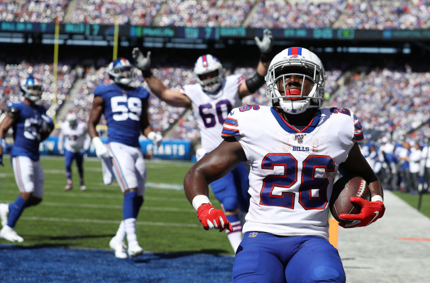EAST RUTHERFORD, NEW JERSEY - SEPTEMBER 15: Devin Singletary #26 of the Buffalo Bills scores a touchdown against the New York Giants during their game at MetLife Stadium on September 15, 2019 in East Rutherford, New Jersey. (Photo by Al Bello/Getty Images)