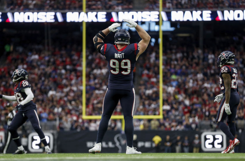 HOUSTON, TEXAS - JANUARY 04: J.J. Watt #99 of the Houston Texans reacts in the first half of the AFC Wild Card Playoff game against the Buffalo Bills at NRG Stadium on January 04, 2020 in Houston, Texas. (Photo by Tim Warner/Getty Images)