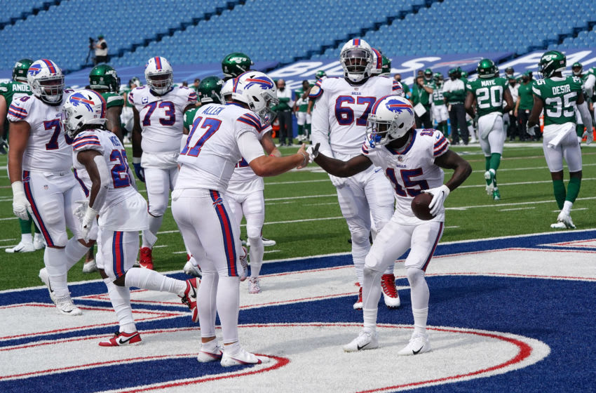 ORCHARD PARK, NEW YORK - SEPTEMBER 13: John Brown #15 of the Buffalo Bills celebrates a touchdown with Josh Allen #17 during the first half against the New York Jets at Bills Stadium on September 13, 2020 in Orchard Park, New York. (Photo by Stacy Revere/Getty Images)