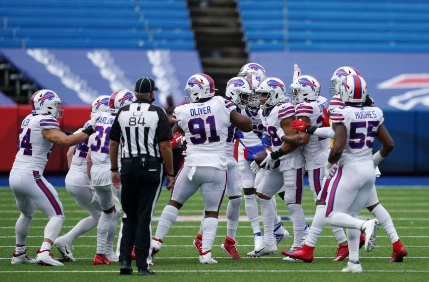 ORCHARD PARK, NEW YORK - SEPTEMBER 13: Matt Milano #58 of the Buffalo Bills celebrates with teammates following an interception during the first half against the New York Jets at Bills Stadium on September 13, 2020 in Orchard Park, New York. (Photo by Stacy Revere/Getty Images)