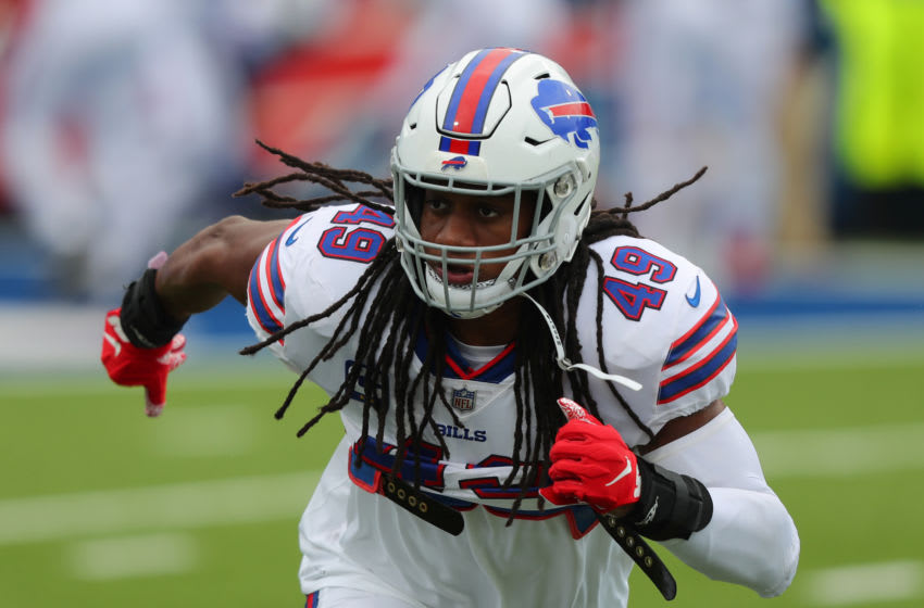 ORCHARD PARK, NY - SEPTEMBER 13: Tremaine Edmunds #49 of the Buffalo Bills on the field before a game against the New York Jets at Bills Stadium on September 13, 2020 in Orchard Park, New York. Bills beat the Jets 27 to 17. (Photo by Timothy T Ludwig/Getty Images)