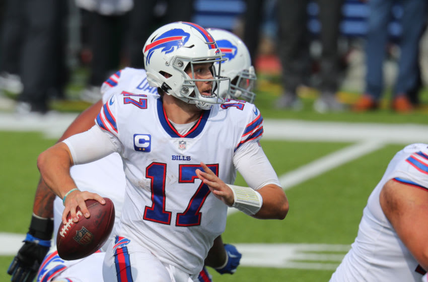 ORCHARD PARK, NY - SEPTEMBER 13: Josh Allen #17 of the Buffalo Bills looks to throw a pass against the New York Jets at Bills Stadium on September 13, 2020 in Orchard Park, New York. Bills beat the Jets 27 to 17. (Photo by Timothy T Ludwig/Getty Images)