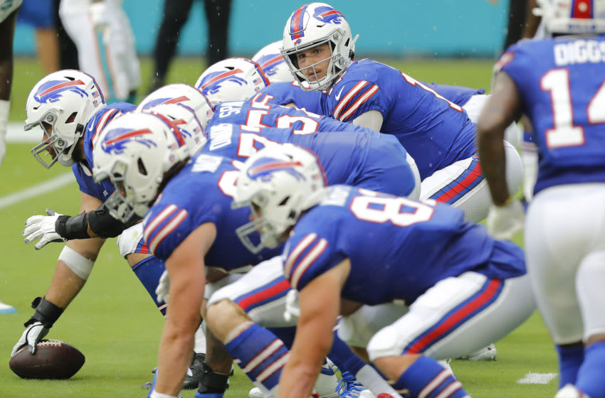 MIAMI GARDENS, FLORIDA - SEPTEMBER 20: Josh Allen #17 of the Buffalo Bills looks on under center against the Miami Dolphins at Hard Rock Stadium on September 20, 2020 in Miami Gardens, Florida. (Photo by Michael Reaves/Getty Images)