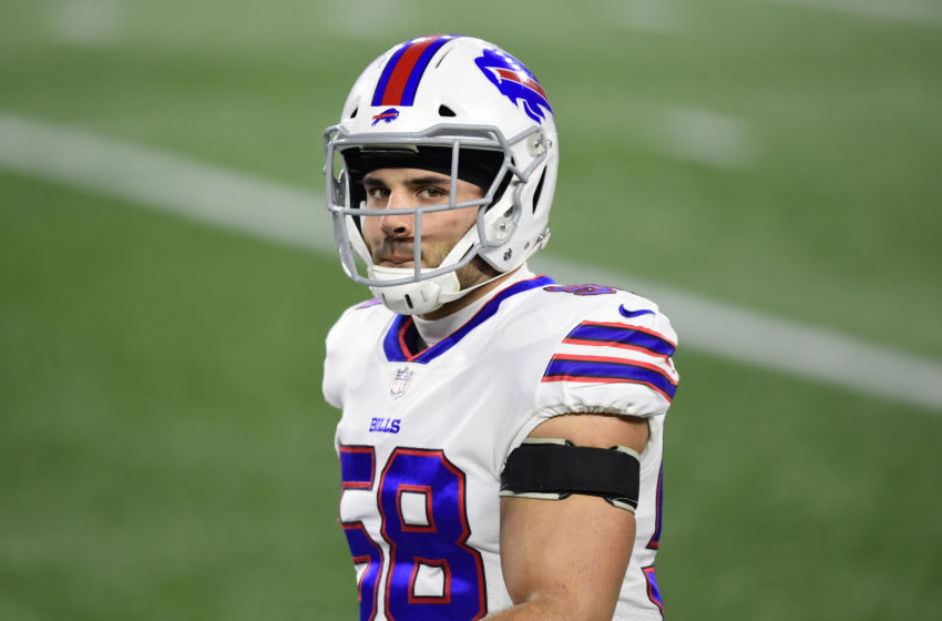 FOXBOROUGH, MASSACHUSETTS - DECEMBER 28: Matt Milano #58 of the Buffalo Bills looks on during warmups before the game against the New England Patriots at Gillette Stadium on December 28, 2020 in Foxborough, Massachusetts. (Photo by Billie Weiss/Getty Images)