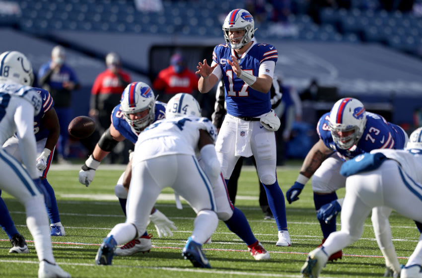 ORCHARD PARK, NEW YORK - JANUARY 09: Josh Allen #17 of the Buffalo Bills waits for the snap during the first quarter of an AFC Wild Card playoff game against the Indianapolis Colts at Bills Stadium on January 09, 2021 in Orchard Park, New York. (Photo by Bryan Bennett/Getty Images)
