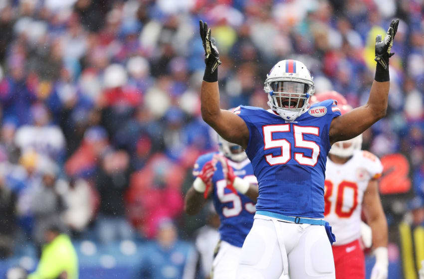 ORCHARD PARK, NY - NOVEMBER 09: Jerry Hughes #55 of the Buffalo Bills celebrates a tackle for a loss against the Kansas City Chiefs during the first half at Ralph Wilson Stadium on November 9, 2014 in Orchard Park, New York. (Photo by Brett Carlsen/Getty Images)